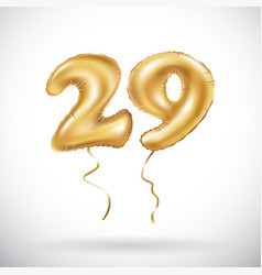 golden number 29 twenty nine metallic balloon vector image