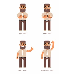 Good angry happy dissatisfied chief A set of four vector image vector image