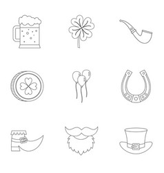 happy st patricks day icon set outline style vector image vector image