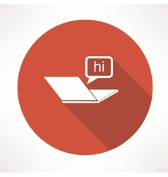 Laptop chat icon vector