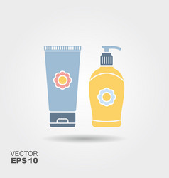 liquid soap and tube of cream vector image