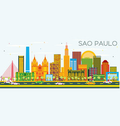 Sao paulo skyline with color buildings and blue vector