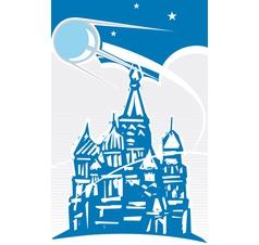 Sputnik over kremlin vector