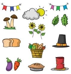 Thanksgiving element set on doodles vector