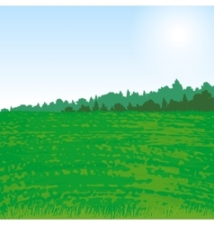 Valley landscape with forest and grass vector