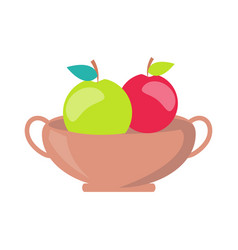 Vase with apples minimalistic vector