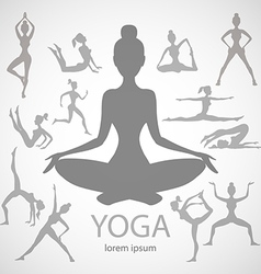 yoga poses silhouettes body pose female vector image