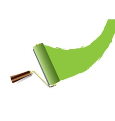 Paint roller swoosh green vector image