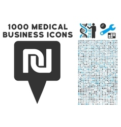 Shekel map pointer icon with 1000 medical business vector