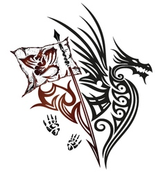 Dragon with wings and flag vector