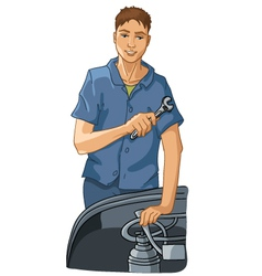 Mechanic repairs equipment vector