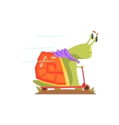 Snail monster in purple scarf riding a scooter vector
