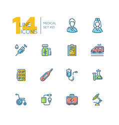 Medical equipment - thick line icons set vector