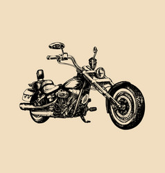 Hand drawn classic chopper for mc label vector