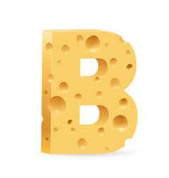 cheese font b letter on white vector image