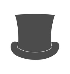 Top hat silhouette isolated on white background vector