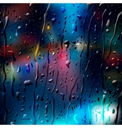City road at night view through wet glass vector