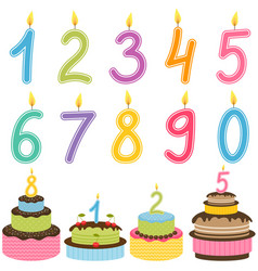 birthday numbers candle with birthday cakes vector image