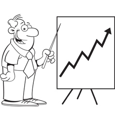 Cartoon man with a chart vector