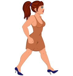 Cartoon woman in brown dress walking vector