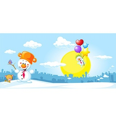 Winter urban landscape with funny snowman cat and vector