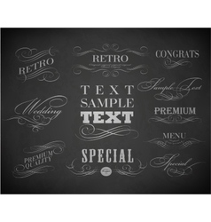 Chalk typography calligraphic design elements vector