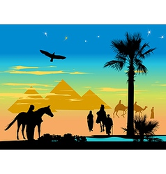 Travelers around the pyramids and palm trees at vector