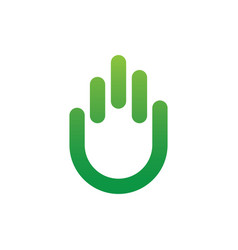 abstract hand eco icon logo vector image vector image