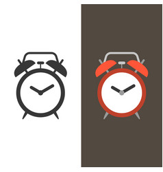 alarm clock flat design and silhouette vector image