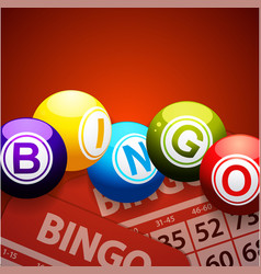Bingo balls and cards on red background vector