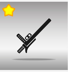 Black police baton or nightstick icon button logo vector