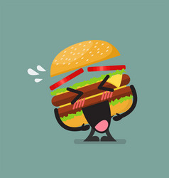 Burger character laughing vector