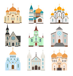 Christian sanctuary building icons vector