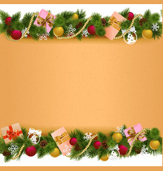 Christmas border with paper scroll vector
