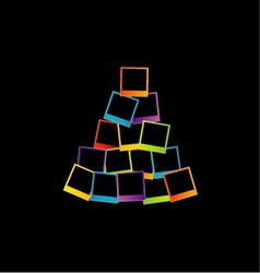 Christmas tree with colorful polaroids vector image vector image