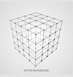Cube 3d mesh wireframe web and data connection vector