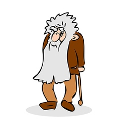 Funny old man with hat and walking cane vector image vector image