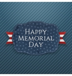 Happy memorial day realistic sign and ribbon vector