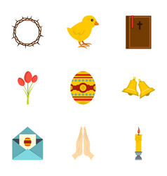 Holy easter icon set flat style vector