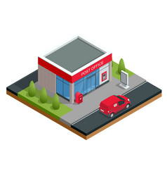 Isometric building of post office and post car vector