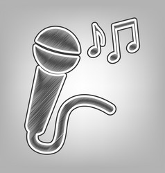 Microphone sign with music notes pencil vector