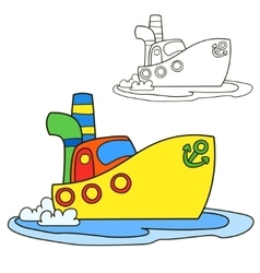 Motor ship coloring book page cartoon vector