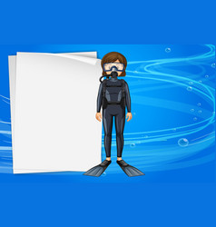 Paper template with girl in scuba diving outfit vector
