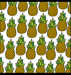 Pineapples pattern fresh fruit drawing icon vector