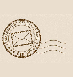 Postal stamp round brown postmark with berlin vector