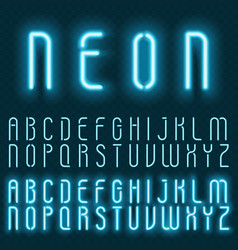 Realistic neon alphabet bright glowing vector
