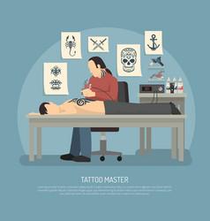 tattoo studio composition vector image