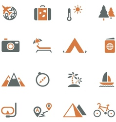 Travel and tourism icon set for design vector image