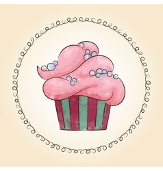 Watercolor cupcake with pearls vector