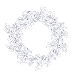 White wreath of blueberry vector